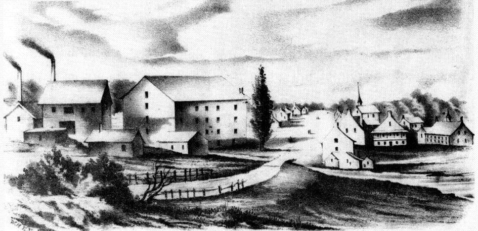 Sketch of Waterloo village ca 1853